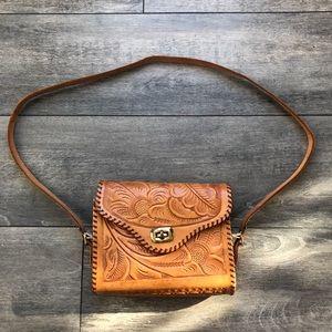 VINTAGE real leather quality unique purse